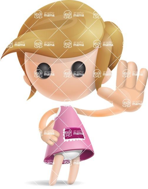 Simple Little Girl Vector 3D Cartoon Character AKA Ellie Babylicious - Wave