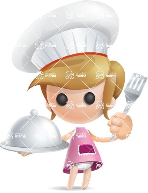 Simple Little Girl Vector 3D Cartoon Character AKA Ellie Babylicious - Chef