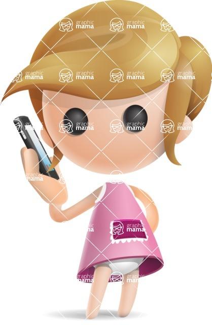 Simple Little Girl Vector 3D Cartoon Character AKA Ellie Babylicious - Support 1