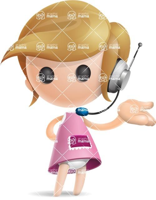 Simple Little Girl Vector 3D Cartoon Character AKA Ellie Babylicious - Support 2