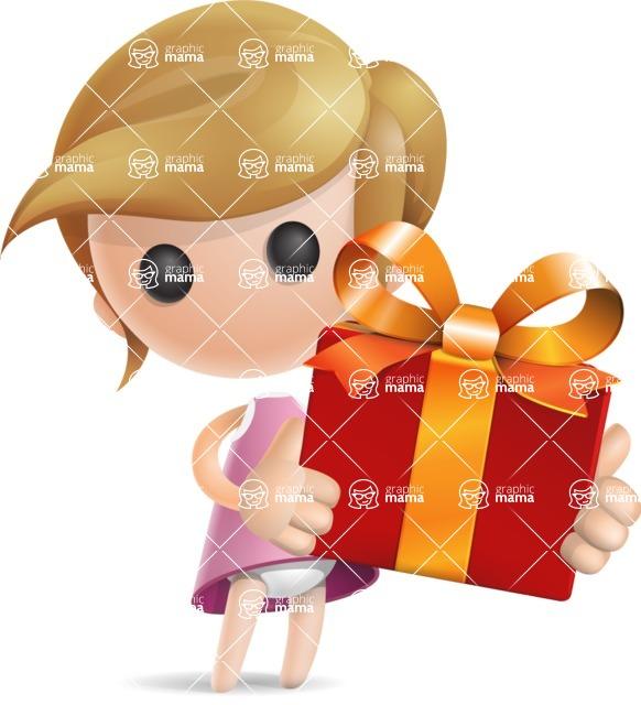 Simple Little Girl Vector 3D Cartoon Character AKA Ellie Babylicious - Gift