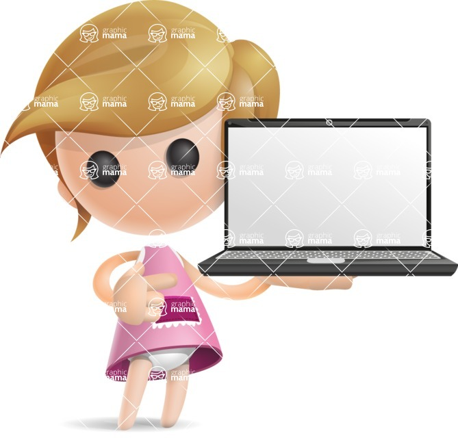 Simple Little Girl Vector 3D Cartoon Character AKA Ellie Babylicious - Laptop 2