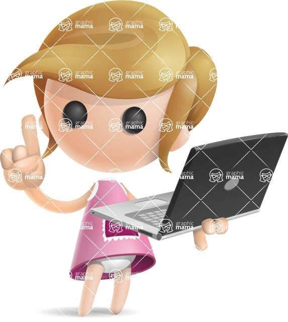 Simple Little Girl Vector 3D Cartoon Character AKA Ellie Babylicious - Laptop 3