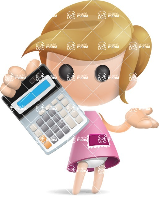 Simple Little Girl Vector 3D Cartoon Character AKA Ellie Babylicious - Calculator