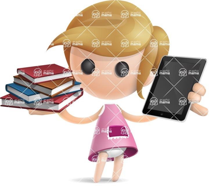 Simple Little Girl Vector 3D Cartoon Character AKA Ellie Babylicious - Book and iPad