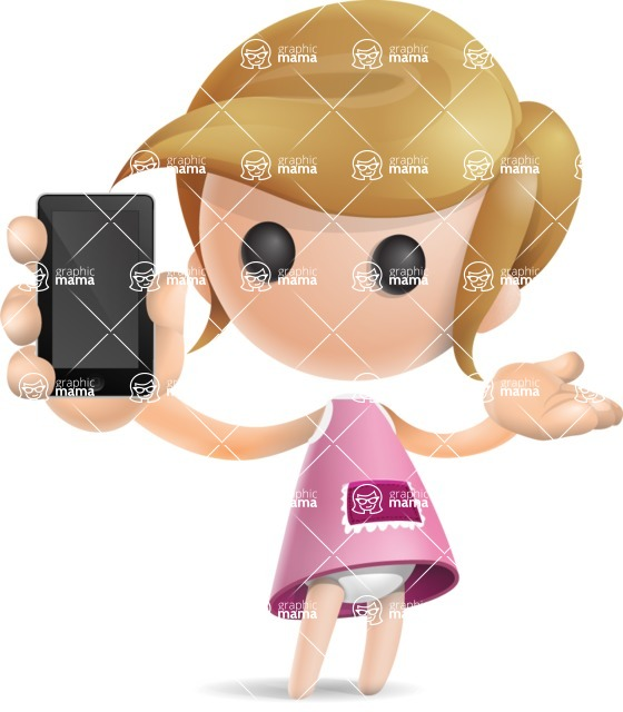 Simple Little Girl Vector 3D Cartoon Character AKA Ellie Babylicious - iPhone
