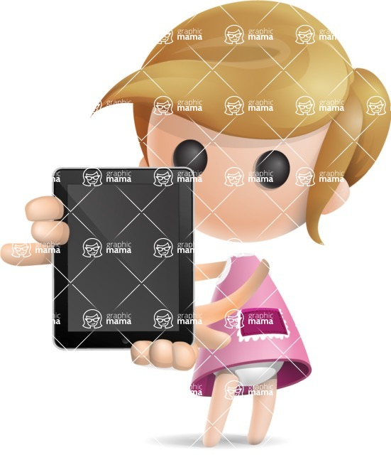 Simple Little Girl Vector 3D Cartoon Character AKA Ellie Babylicious - iPad 1