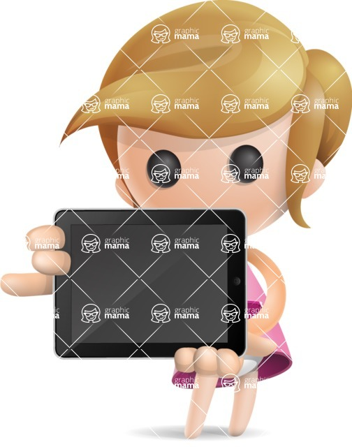 Simple Little Girl Vector 3D Cartoon Character AKA Ellie Babylicious - iPad 2