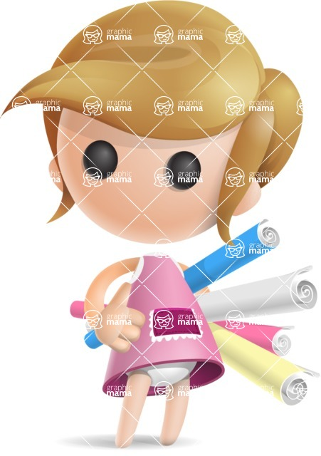 Simple Little Girl Vector 3D Cartoon Character AKA Ellie Babylicious - Papers