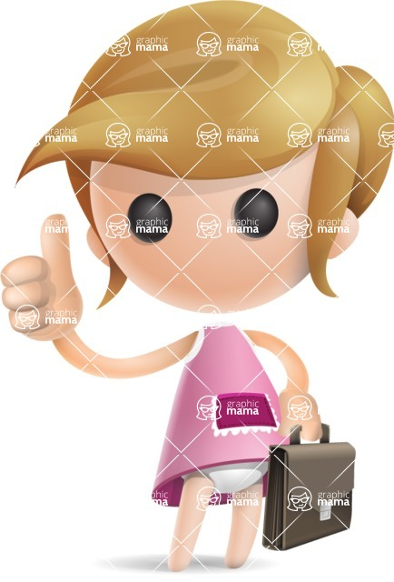 Simple Little Girl Vector 3D Cartoon Character AKA Ellie Babylicious - Businessman