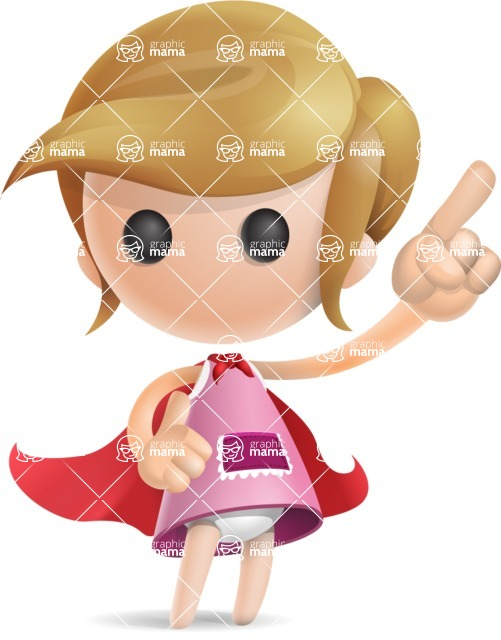 Simple Little Girl Vector 3D Cartoon Character AKA Ellie Babylicious - Superman