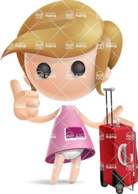 Simple Little Girl Vector 3D Cartoon Character AKA Ellie Babylicious - Travel