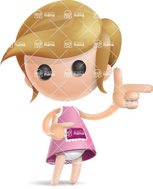 Simple Little Girl Vector 3D Cartoon Character AKA Ellie Babylicious - Point