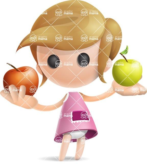 Simple Little Girl Vector 3D Cartoon Character AKA Ellie Babylicious - Apples