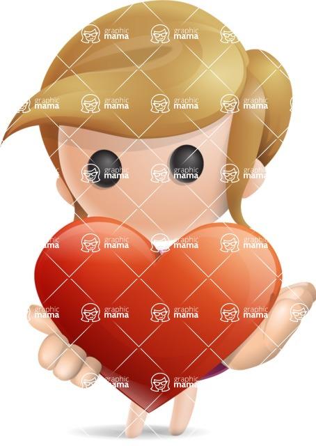 Simple Little Girl Vector 3D Cartoon Character AKA Ellie Babylicious - Love