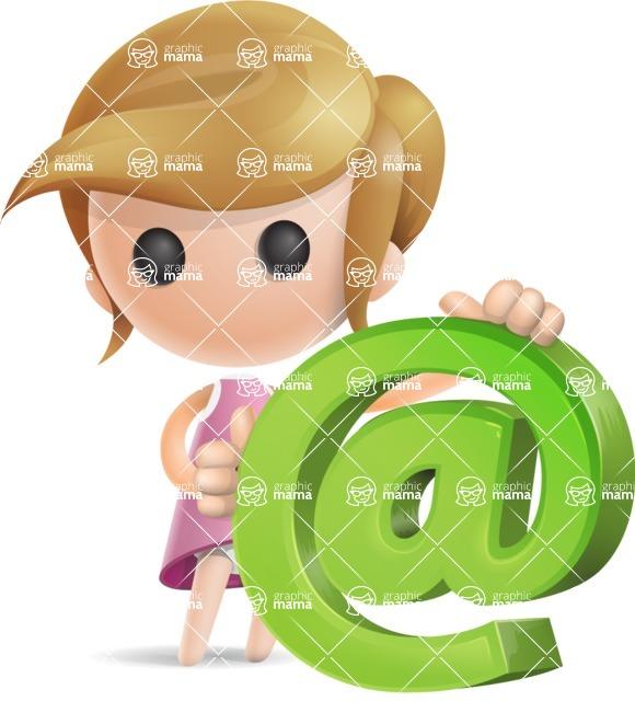 Simple Little Girl Vector 3D Cartoon Character AKA Ellie Babylicious - Email