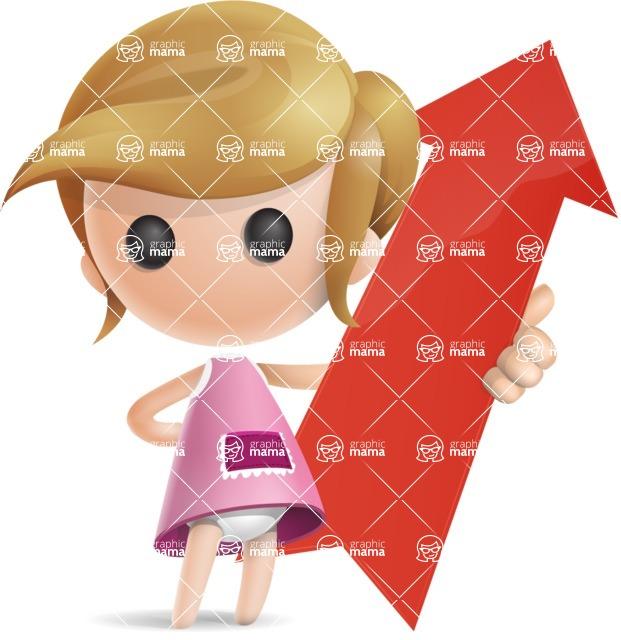 Simple Little Girl Vector 3D Cartoon Character AKA Ellie Babylicious - Arrow 1