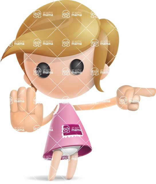 Simple Little Girl Vector 3D Cartoon Character AKA Ellie Babylicious - Direct Attention