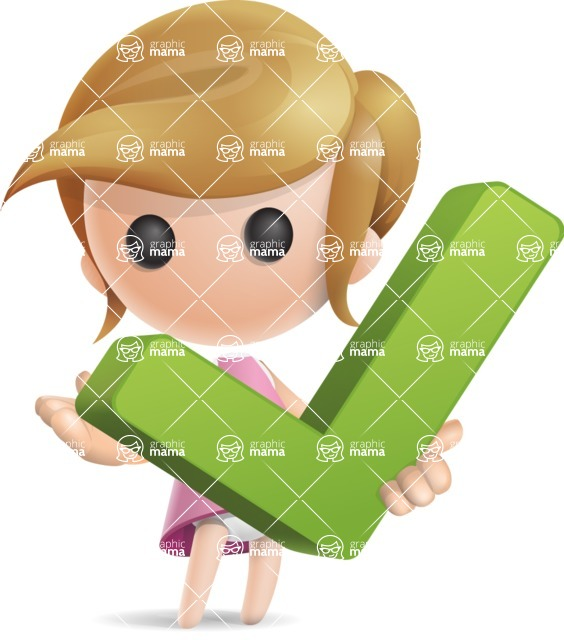Simple Little Girl Vector 3D Cartoon Character AKA Ellie Babylicious - Check