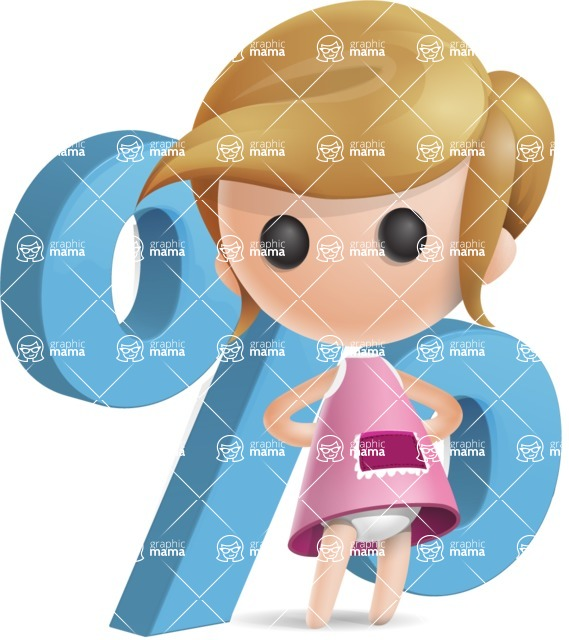 Simple Little Girl Vector 3D Cartoon Character AKA Ellie Babylicious - Percent