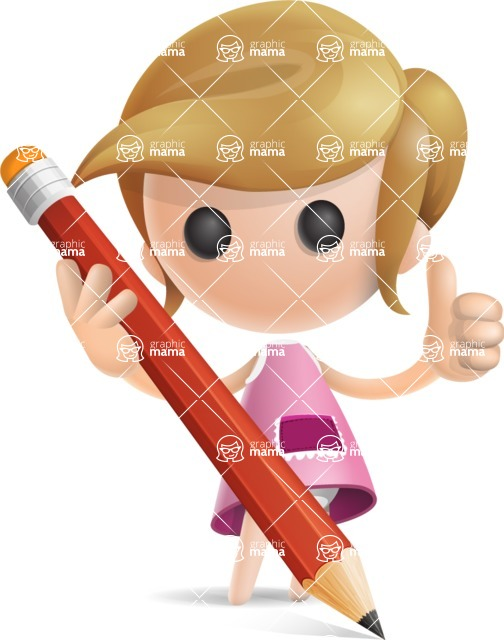 Simple Little Girl Vector 3D Cartoon Character AKA Ellie Babylicious - Pencil