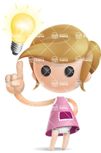 Simple Little Girl Vector 3D Cartoon Character AKA Ellie Babylicious - Idea