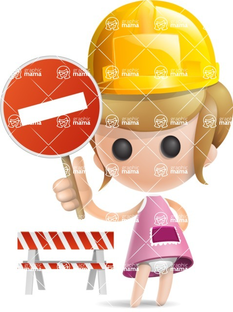 Simple Little Girl Vector 3D Cartoon Character AKA Ellie Babylicious - Under Construction