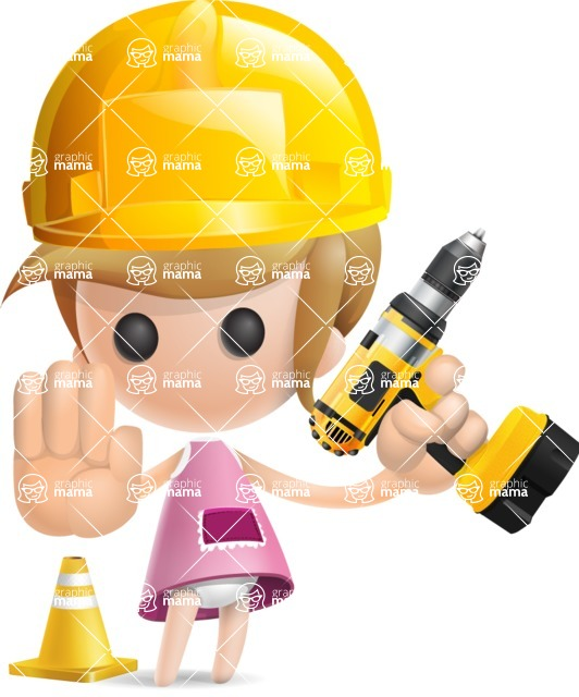 Simple Little Girl Vector 3D Cartoon Character AKA Ellie Babylicious - Under Construction 2