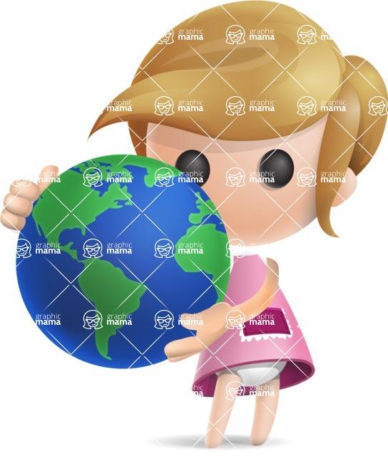 Simple Little Girl Vector 3D Cartoon Character AKA Ellie Babylicious - Earth