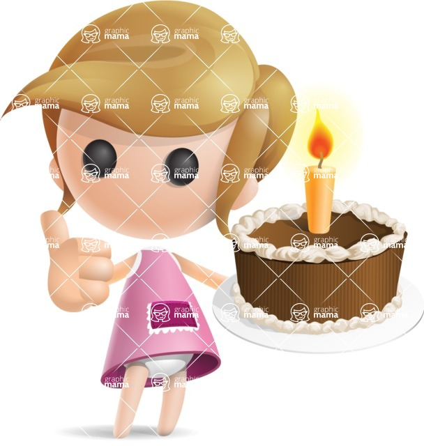 Simple Little Girl Vector 3D Cartoon Character AKA Ellie Babylicious - Cake