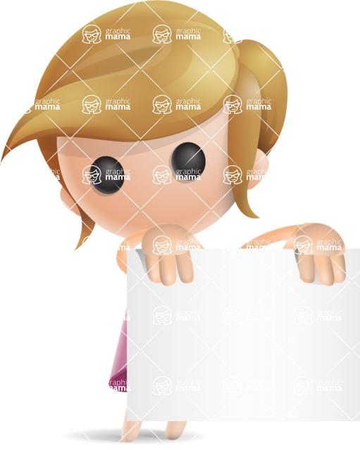 Simple Little Girl Vector 3D Cartoon Character AKA Ellie Babylicious - Sign 1
