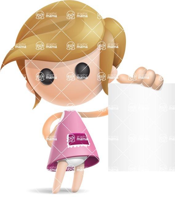 Simple Little Girl Vector 3D Cartoon Character AKA Ellie Babylicious - Sign 3