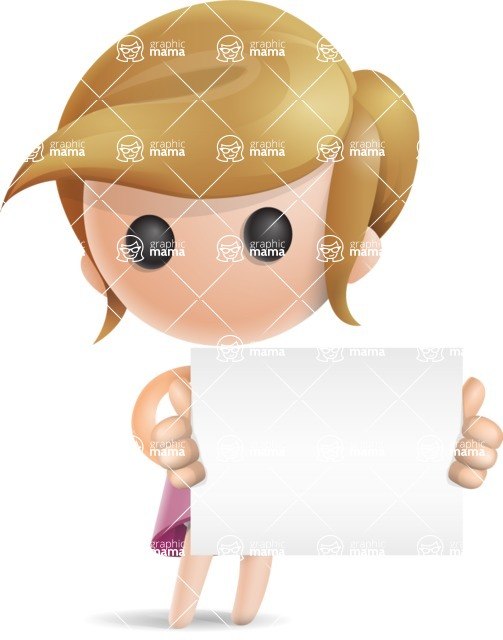 Simple Little Girl Vector 3D Cartoon Character AKA Ellie Babylicious - Sign 4