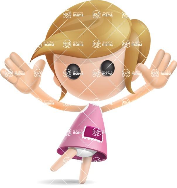 Simple Little Girl Vector 3D Cartoon Character AKA Ellie Babylicious - Happy