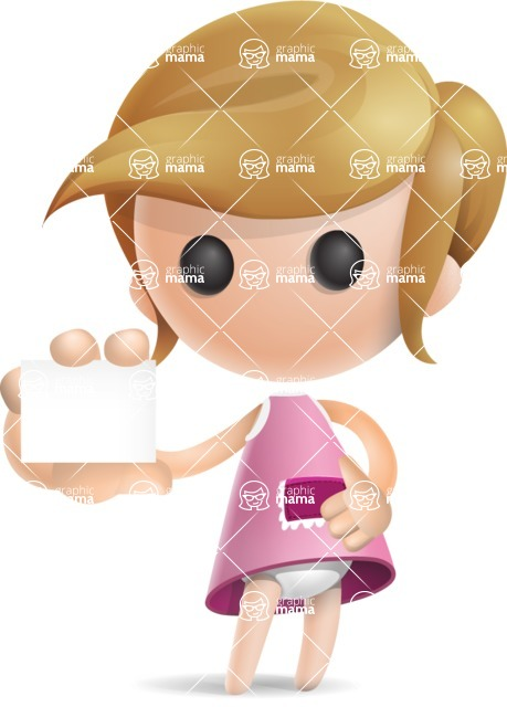 Simple Little Girl Vector 3D Cartoon Character AKA Ellie Babylicious - Sign 5