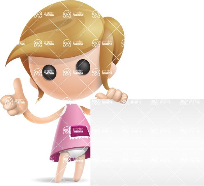Simple Little Girl Vector 3D Cartoon Character AKA Ellie Babylicious - Sign 7