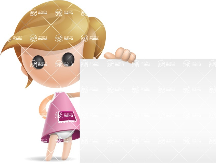 Simple Little Girl Vector 3D Cartoon Character AKA Ellie Babylicious - Sign 8