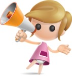 Simple Little Girl Vector 3D Cartoon Character AKA Ellie Babylicious - Loudspeaker