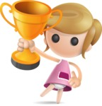 Simple Little Girl Vector 3D Cartoon Character AKA Ellie Babylicious - Gold Cup