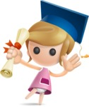 Simple Little Girl Vector 3D Cartoon Character AKA Ellie Babylicious - Graduation