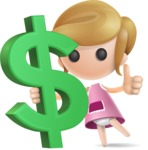 Simple Little Girl Vector 3D Cartoon Character AKA Ellie Babylicious - Dollar