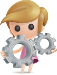 Simple Little Girl Vector 3D Cartoon Character AKA Ellie Babylicious - Gears