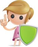 Simple Little Girl Vector 3D Cartoon Character AKA Ellie Babylicious - Shield