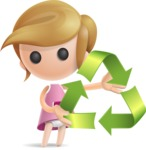 Simple Little Girl Vector 3D Cartoon Character AKA Ellie Babylicious - Eco