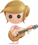 Simple Little Girl Vector 3D Cartoon Character AKA Ellie Babylicious - Musician