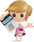 Simple Little Girl Vector 3D Cartoon Character AKA Ellie Babylicious - Calculator