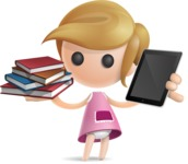 Simple Little Girl Vector 3D Cartoon Character AKA Ellie Babylicious - Book and iPad