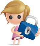 Simple Little Girl Vector 3D Cartoon Character AKA Ellie Babylicious - Lock