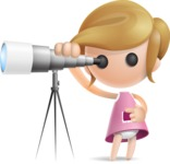 Simple Little Girl Vector 3D Cartoon Character AKA Ellie Babylicious - Telescope