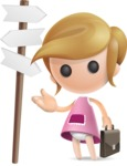 Simple Little Girl Vector 3D Cartoon Character AKA Ellie Babylicious - Crossroad